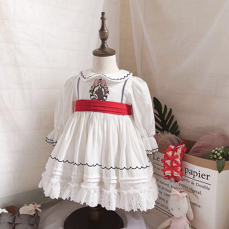 0 7Y Baby Girl Summer Autumn Turkey Style White Totoro Long Sleeve Lolita Princess Dress for