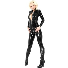sexy lingerie Women latex catsuit Black sexy leotard PVC artificial leather erotic lingerie for womeSM Cat woman S22 EE