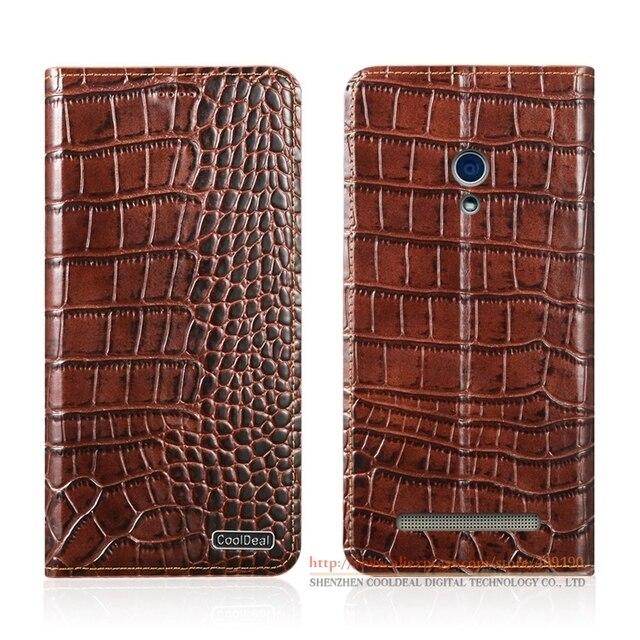 "KickStand Magnetic Flip Cover Case For ASUS T00J T00P ZenFone 5 A501CG A500KL 5.0"" Crocodile Lines Genuine Leather Case"