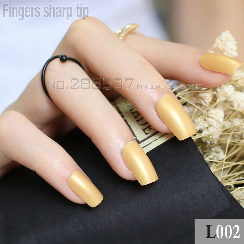 ᗖ24pcs noble gold Fake Finger Nails Bent Flat Long Size Acrylic ...