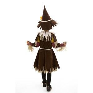 Image 2 - Der Zauberer von OZ Kürbis Patch Scarecrow Kostüm Cosplay Mädchen Kinder Halloween Karneval Cosplay Partei Erstaunliche Phantasie Kleid Up Anzug