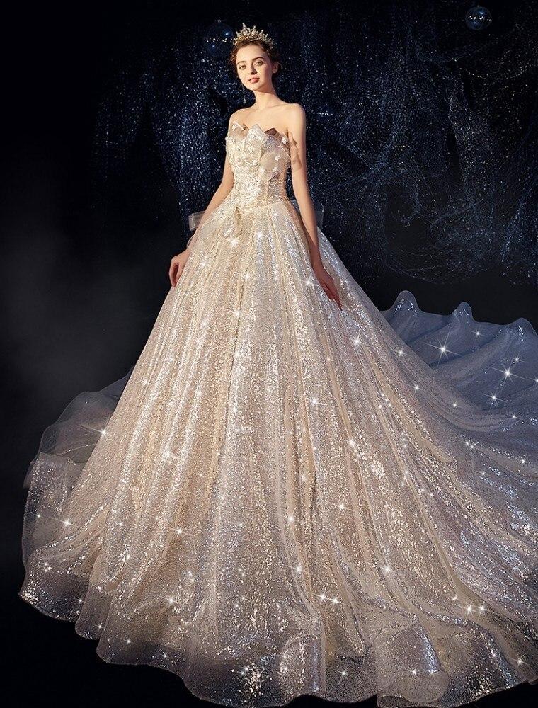 Vivian's Bridal Luxury Shine Starry Sky Bow Voile Ball Gown Wedding Dress Sexy Strapless 3d Flower Appliques Women Bridal Dress
