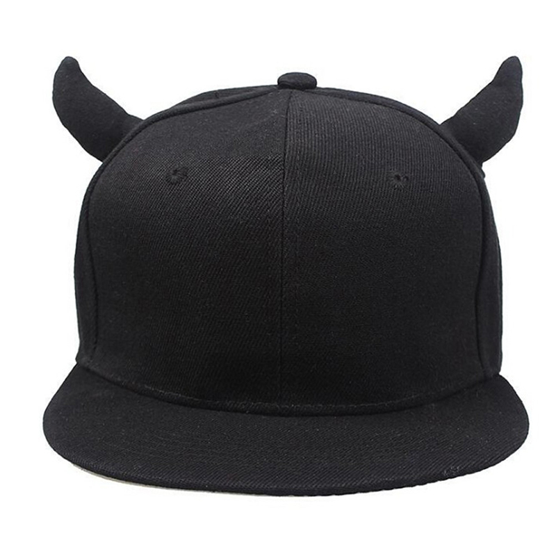 Black Cotton Punk Horn   Baseball     Cap   Hip-hop Hat Snapback   Cap   With Horn