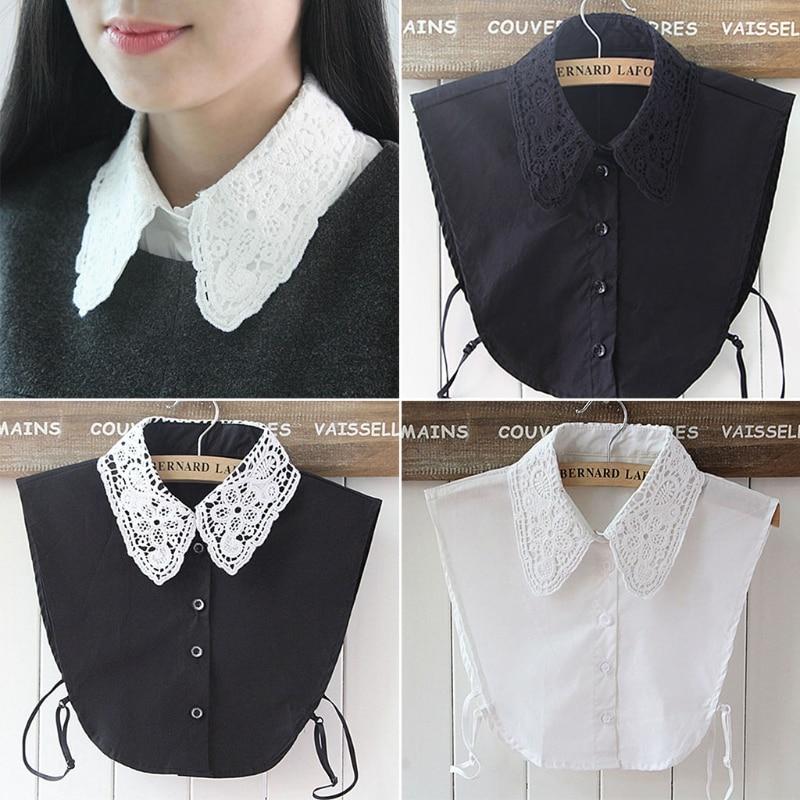 Shirt Fake Collar White & Black Tie Vintage Detachable Collar False Collar Lapel Blouse Top Women Clothes Accessories