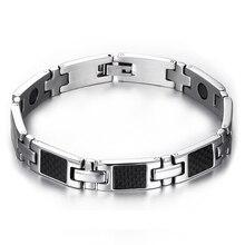 2016 nouveau En Acier Inoxydable hommes bracelets punk chaîne bracelets mâle bijoux Magnétique Charme homme Bracelet