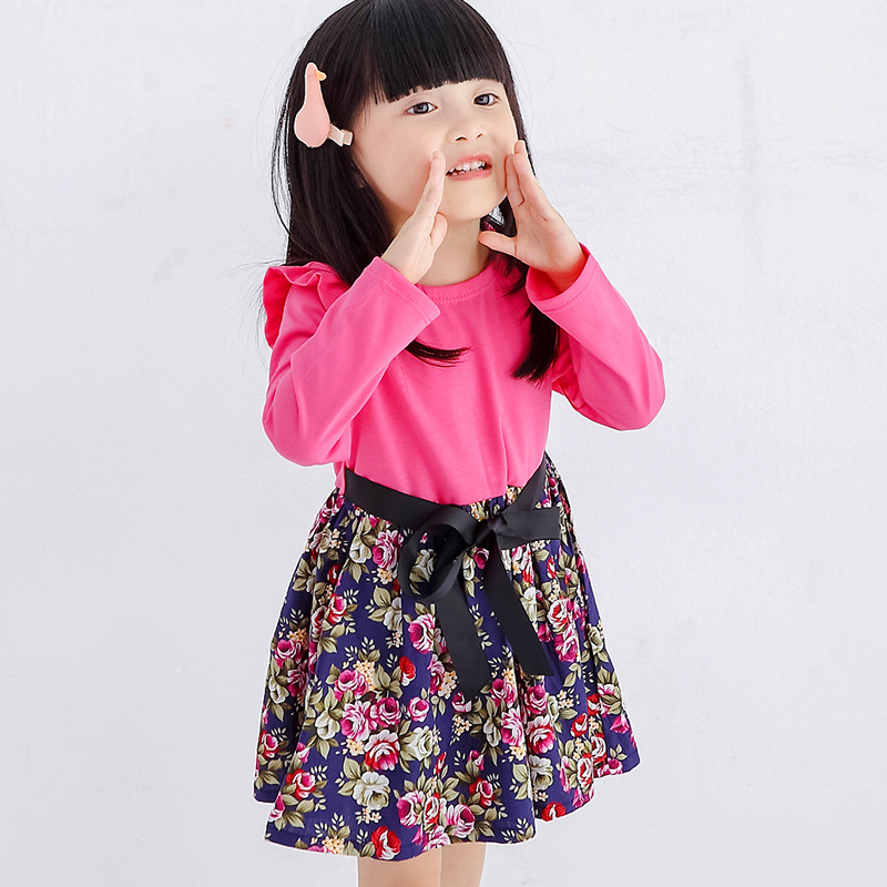 2017 Girls Dress Summer solid clour Spliced  Floral Print Teenagers - Children's Clothing - Photo 2