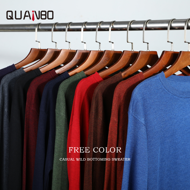 QUANBO 2019 Autumn Winter New High Quality Sweater  Men Fit Knitted Sweater Fashion Thin Pullover  Male Wool Cashmere Sweater
