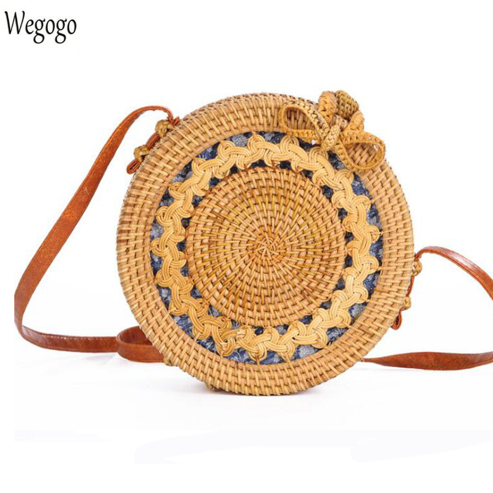 2018 New Women Bag Hand Woven Bag Round Rattan Vintage Retro Straw Knitted Bags Bohemia Beach Circle Messenger Bag INS Popular ашер браун дюран isbn 9785779347693