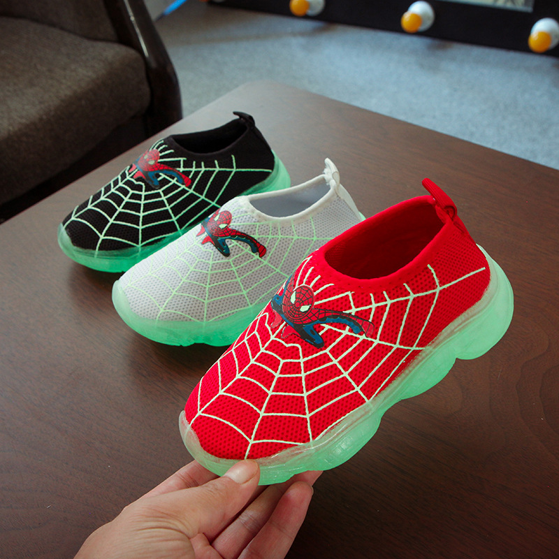 Spiderman Shoes Children Shoes Noctilucous Kids Luminous Sport Shoes Glowing Sneakers Baby Boys Girls Light Up Shoes Footwear