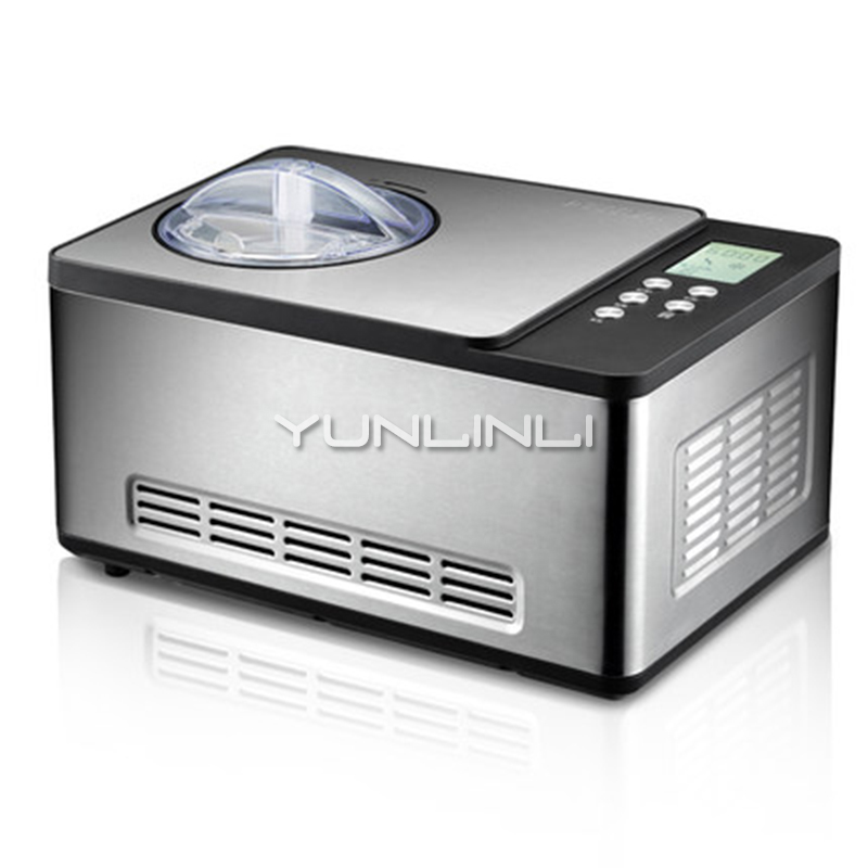 YUNLINLI Full Automatic Household 1.5L Ice Cream Maker for Quick Refrigeration made of Stainless Steel with One Button Operation and Removable Barrel