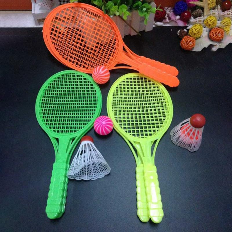 Tbest 1 Paire Enfants Color/é Cartoon Badminton Raquette Ensemble Kids Raquette Ensemble Sports de Plein Air Jeu Jouet pour Enfants et Adultes