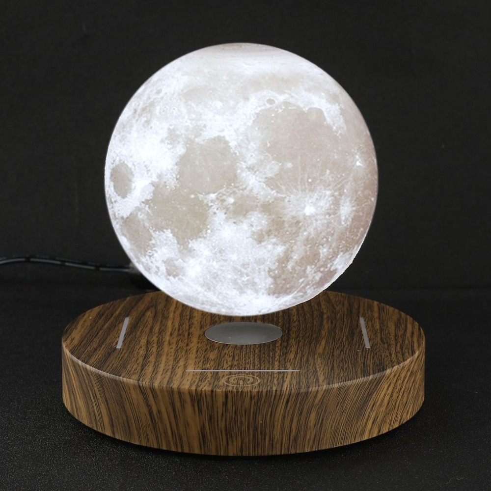3D Magnetic Levitating Moon Lamp Wooden Base 10cm Night Lamp Floating Romantic Light Home Decoration for Bedroom EU Plug 3d levitation moon lamp magnetic floating led night light levitating toy gift wireless power supply creative home night lamp