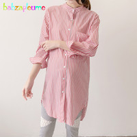 2018 Spring Pregnancy Loose Tops And Blouses Plus Size Women Stripe Maternity Clothing Long Sleeve Shirt Pregnant Clothes BC1535