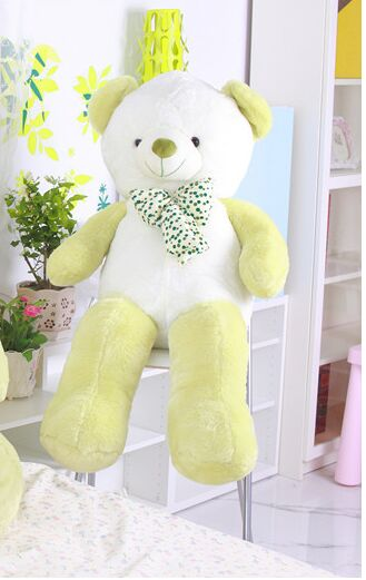 cute plush light green&white Teddy bear toy lovely bow bear doll gift about 100cm 0150 new cute plush brown teddy bear toy pink heart and bow bear doll gift about 70cm