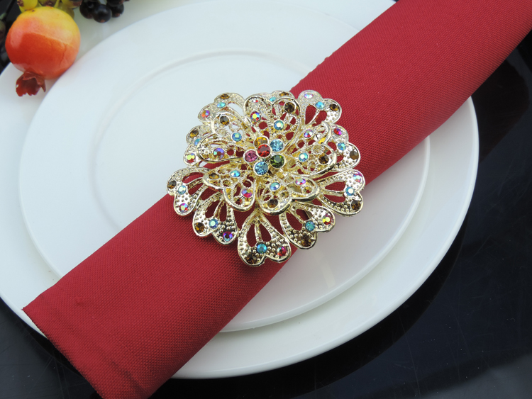 10pcs/lot hotel restaurant table accessories delicate flower napkin ring diamond napkin buckle for wedding party decorations