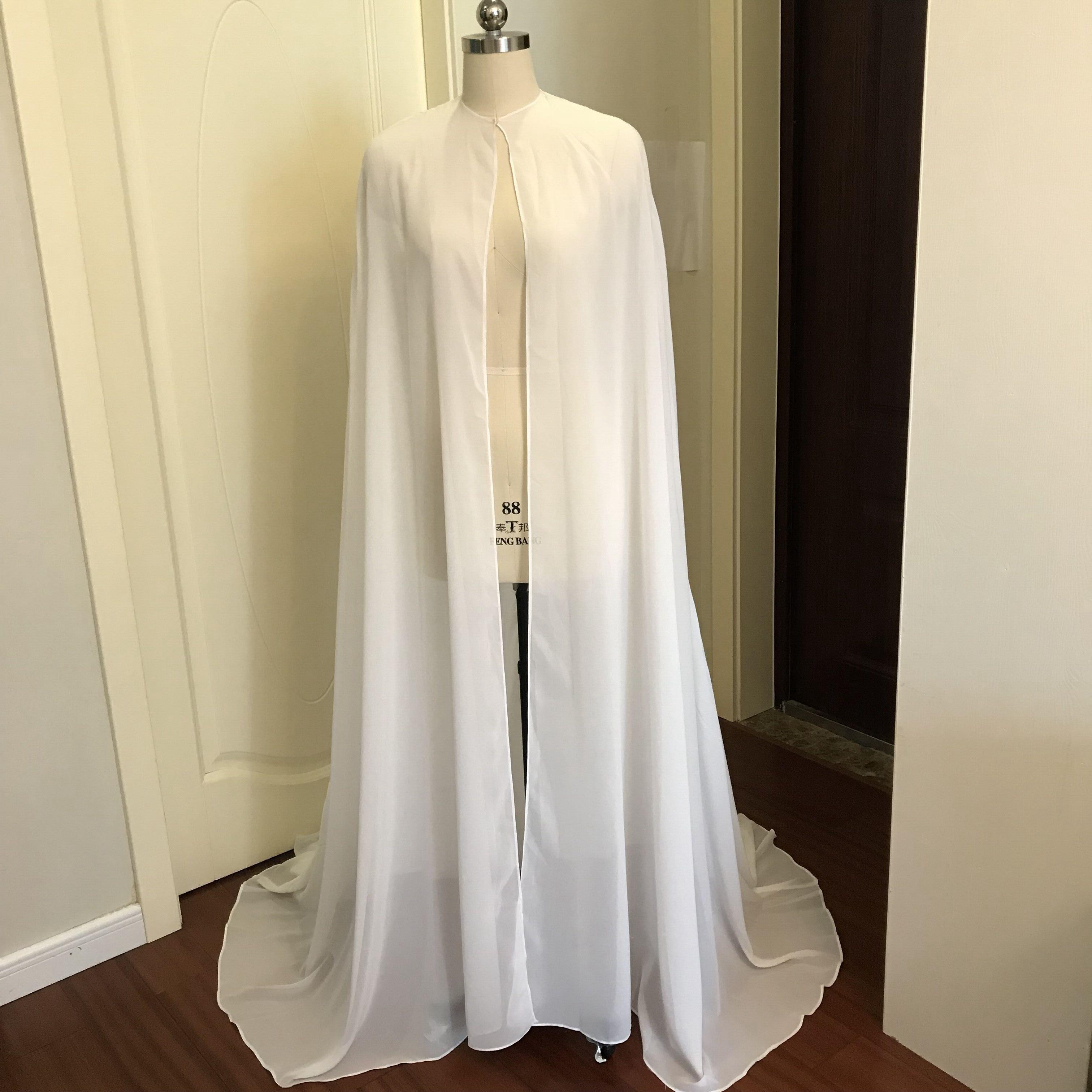Women Bolero Long Wraps Elegant White Sheer Summer Formal Evening Dresses Cape Chiffon Cheap Cloaks Bridal Wedding Party Shawls in Wedding Jackets Wrap from Weddings Events