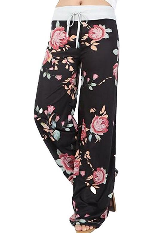 Hot 2018 New Women   Pants   Casual High Waist Pleated Printed Flower Trousers Plus Size 3XL Fashion Rope   Wide     Leg     Pants   Female