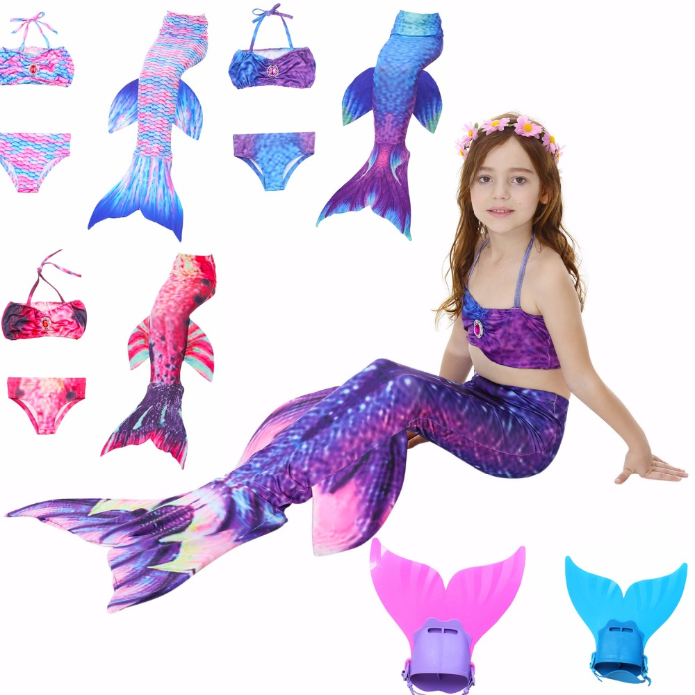 4 PCS Baignade Enfants Diamants Sirène Queue Avec Flipper Monopalme Enfants Maillot de Bain Sirène Queue Costume pour Filles maillot De Bain