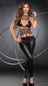 Image 3 - Mulheres Sexy Lingerie Erótica Bodysuit Pole Dance Catsuit De Couro Falso Lingerie Hot Erotic Latex Bodysuit Teddy Sexy Lingerie Preto