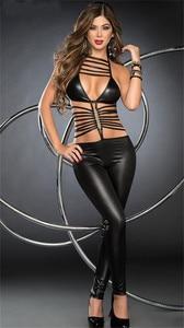 Image 3 - Women Sexy Erotic Lingerie Bodysuit Pole Dance Faux Leather Catsuit Lingerie Hot Erotic Latex Bodysuit Teddy Sexy Lingerie Black