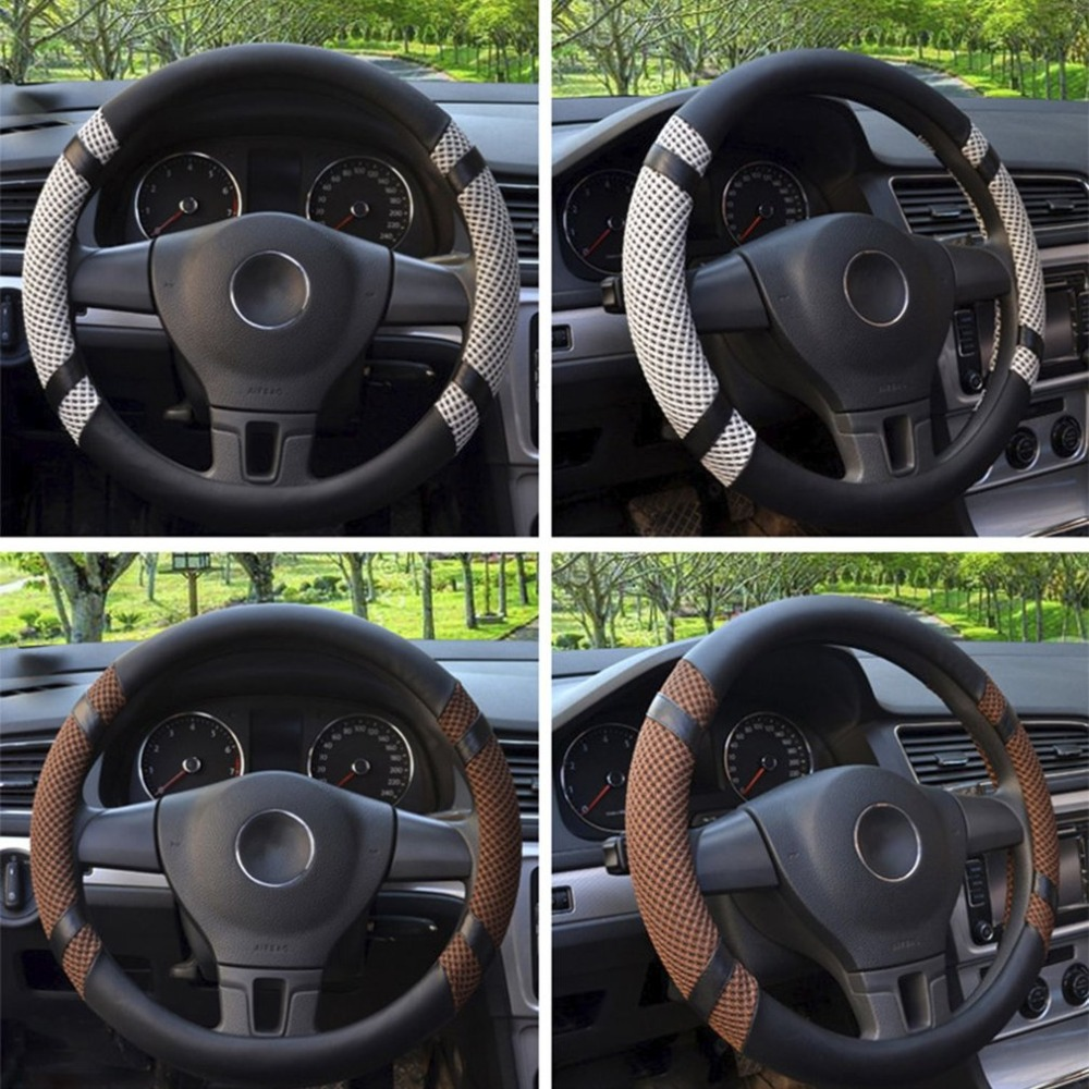 Universal Car Steering Wheel Cover Anti-slip Leather Silk Car Styling Car Interior Decoration Accessories Breathable Handle smart 453 fortwo forfour automotive accessories car steering wheel cover shell interior car decoration metal ring car styling