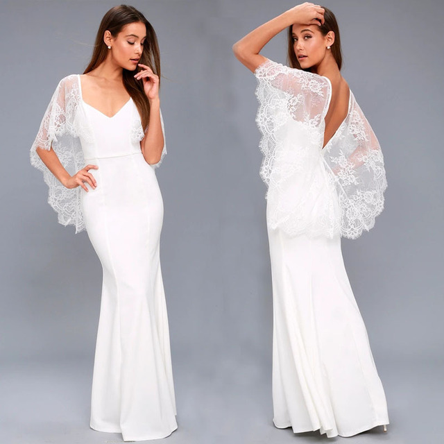 70835b56406b9 2018 Hot Sale Nigerian Lace Shawl White Evening Gown Dress V-neck Taffeta  Mermaid Small Full Dress Vestido De Festa