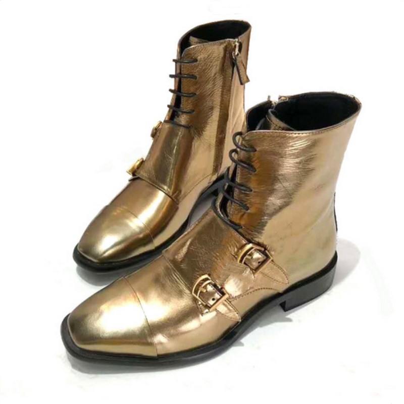 Fashion retro punk style ankle boots ladies square toe double buckle lace black gold and silver leather new Martin boots ladies