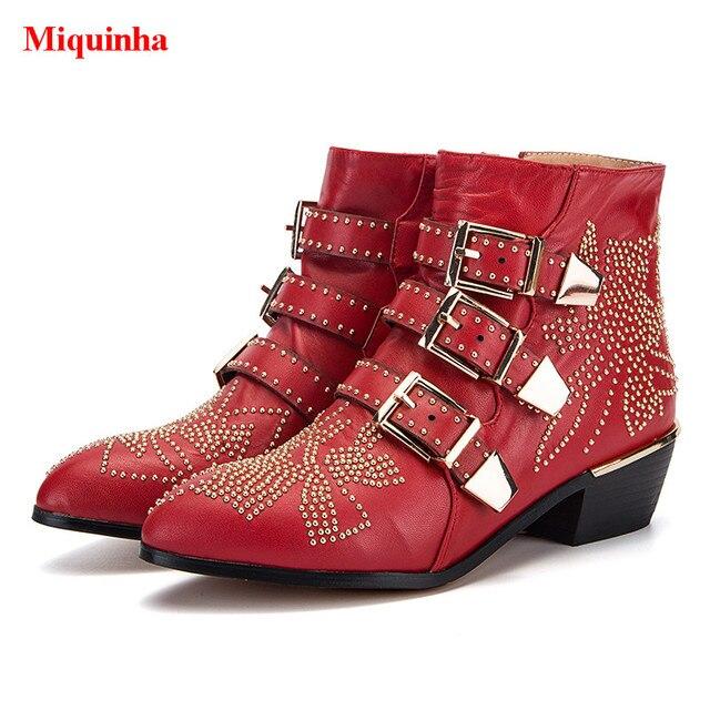 1a0420d2382 Bota Feminina Sexy Susanna Women Ankle Boots Rivets Belt Buckle Studded  Side Zip Punk Shoes Woman Street Superstar Botas Mujer