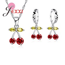 PATICO Multi Color African Crystal Cherry Necklace + Earrings Sets 925 Sterling Silver Anniversary Jewelry Bijoux Accessories(China)