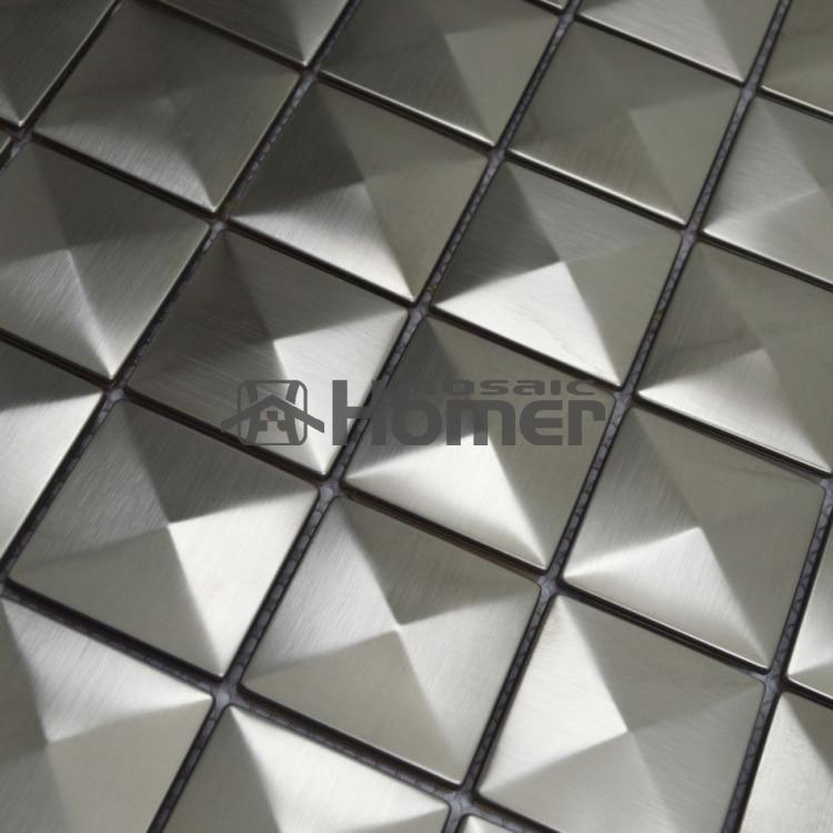 gratis forsendelse, grå rustfrit stål metal mosaik fliser pyramide - Indretning af hjemmet