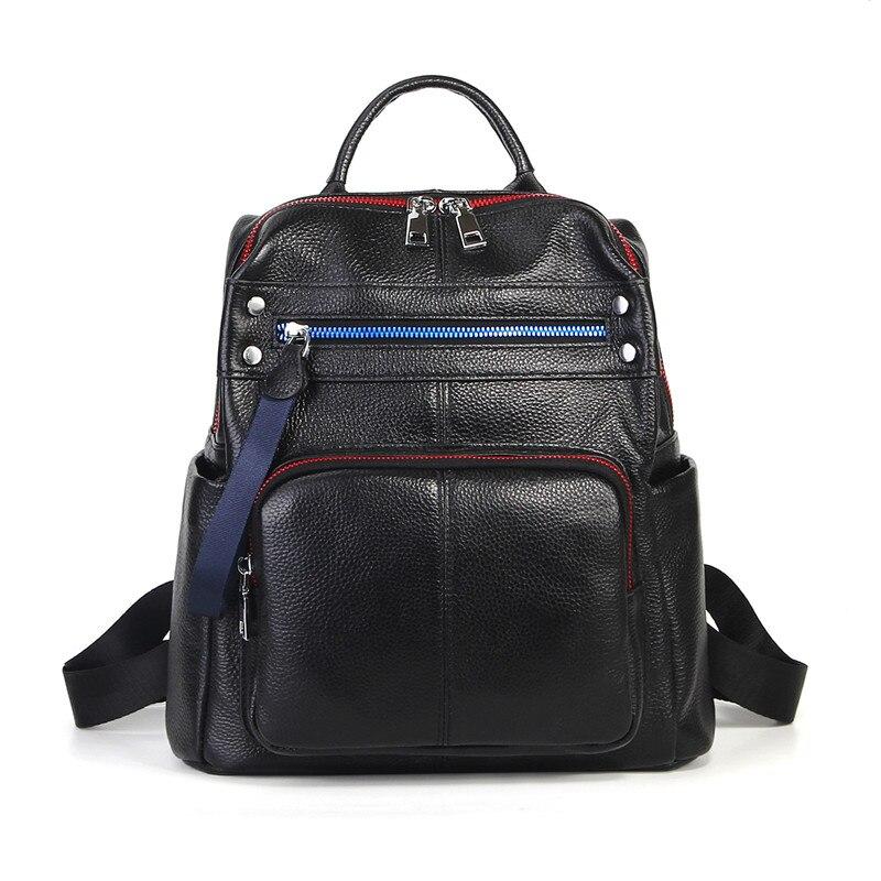Nesitu High Quality New Fashion Black Genuine Leather Cute Women's Backpacks Girl Lady Travel Bag Female M1021