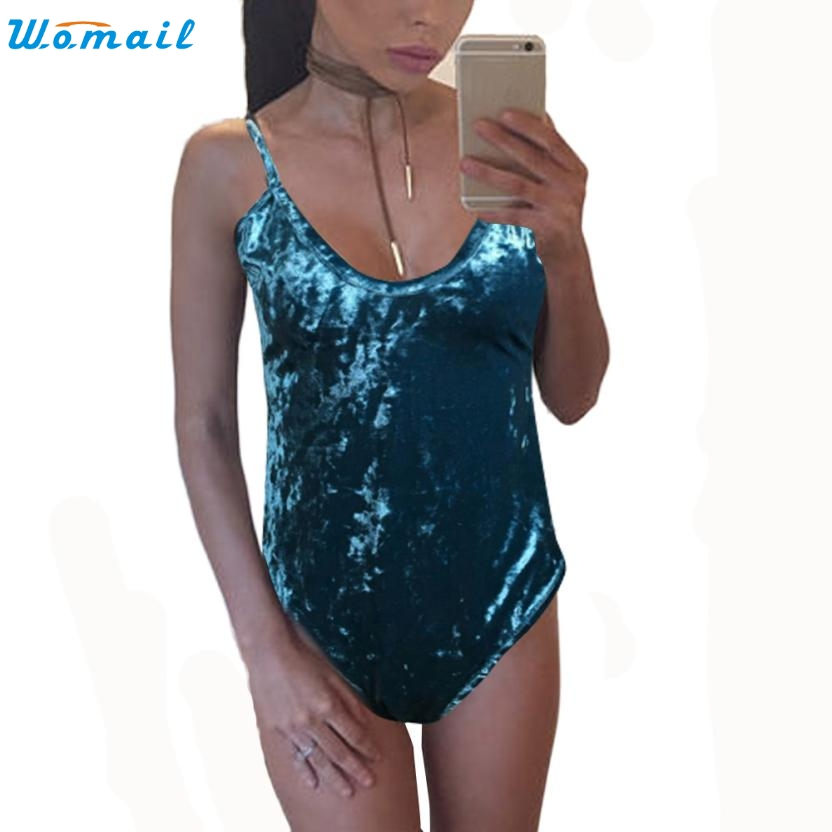 2017 Sexy Female One Piece Backless Shiny Velvet Jumpsuit Beachwear Swimsuits Swimwear Women's Bathing Suits Swimsuit Decc28