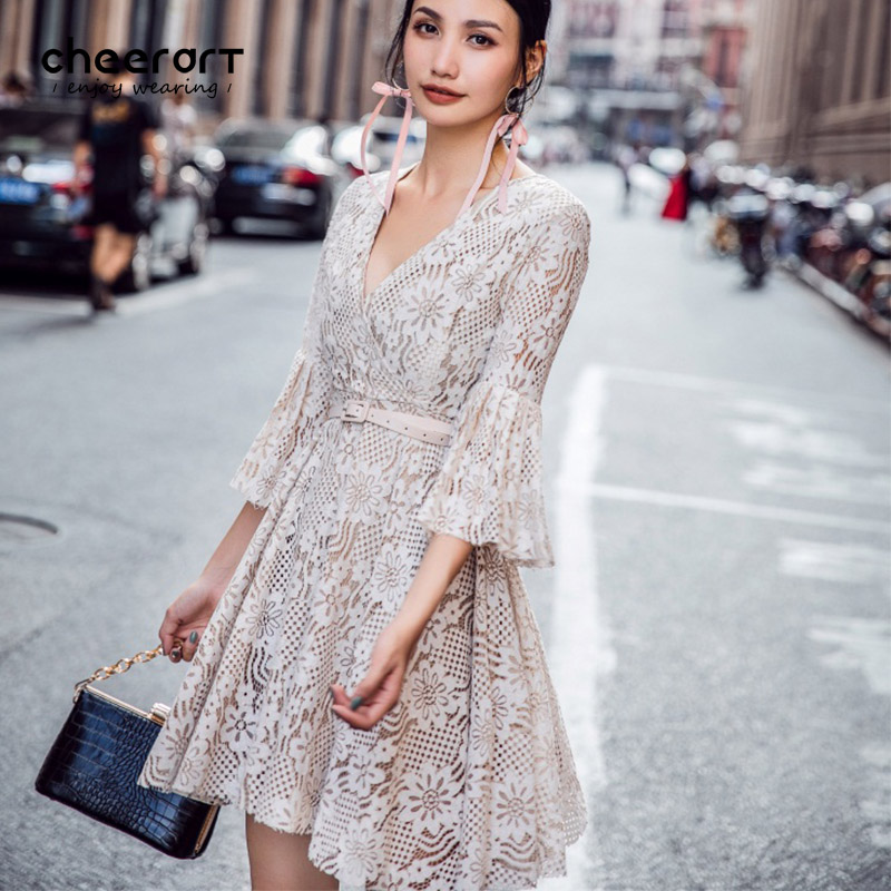 Cheerart Fall Fashion V Neck Lace Dress Women Flare Sleeve Robe Sexy Beige utumn Korean Ladies Dresses With Belt