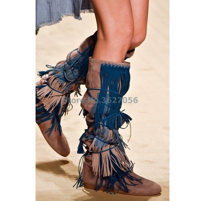 Bracelet Bottes Couleur Bleu Ficelles Picture Femmes En Fringe Hauteur Mixte Bout Croissante Picture As Brun Genou Du Daim as Haute Rond Longue Autour qYgxwd8xI