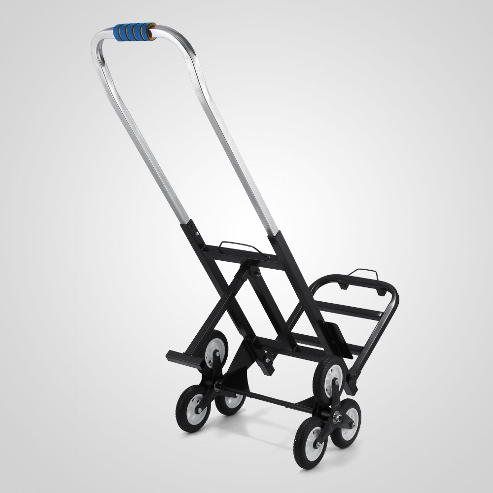 190KG TRI WHEEL BARROW STAIR CLIMBING SACK TROLLEY CLIMBER STAIRS CLIMB CART stair climbing sack trolley unique wheel designed with carbon steel material 6 wheeled stair climbing folding hand trolley