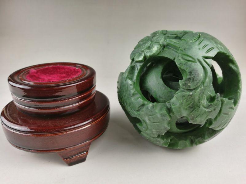 Chinois vieux jade vert sculpté fengshui dragon ball magique avec base en bois - 6