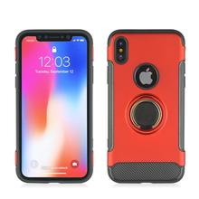Anti Scratch 360° Rotating TPU+PC Ultra Thin Carbon Fiber Ring Bracket Mobile Phone Case For iPhone X knock