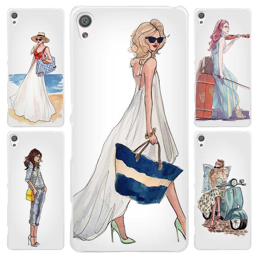 Galleria fotografica Travel Girls Capinhas Clear Cover Case for <font><b>Sony</b></font> Xperia Z1 Z2 Z3 Z4 Z5 M4 Aqua M5 XA XZ C4 E5 l36h