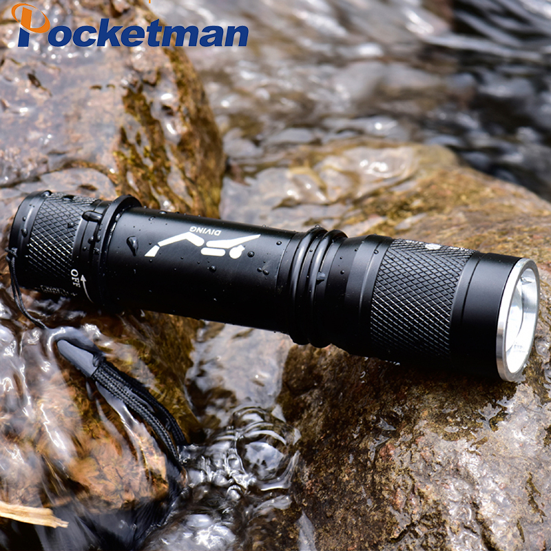 Купить с кэшбэком T6 Waterproof Dive Underwater 80 Meter LED Diving Flashlight Torch Lamp Light Camping Lanterna With Stepless dimming add a gift