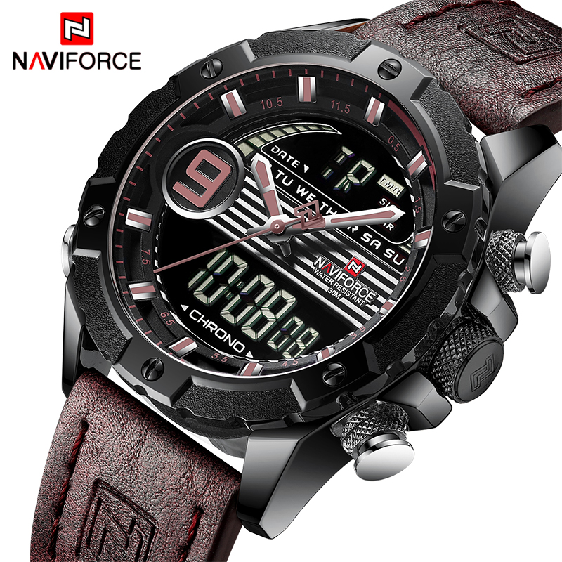 NAVIFORCE Luxury Brand Mens Sport Watches Men Quartz LED Digital Clock Male Military Waterproof Leather Watch Relogio Masculino