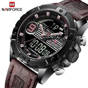 Image 1 - NAVIFORCE Luxury Brand Mens Sport Watches Men Quartz LED Digital Clock Male Military Waterproof Leather Watch Relogio Masculino