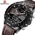 NAVIFORCE Luxus Marke Herren Sport Uhren Männer Quarz LED Digital Uhr Männlichen Militärische Wasserdichte Leder Uhr Relogio Masculino