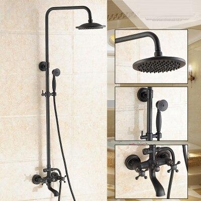 Dofaso 20cm head antique brass shower faucet big rain shower set black retro bathroom faucet with shower set in Shower Faucets from Home Improvement