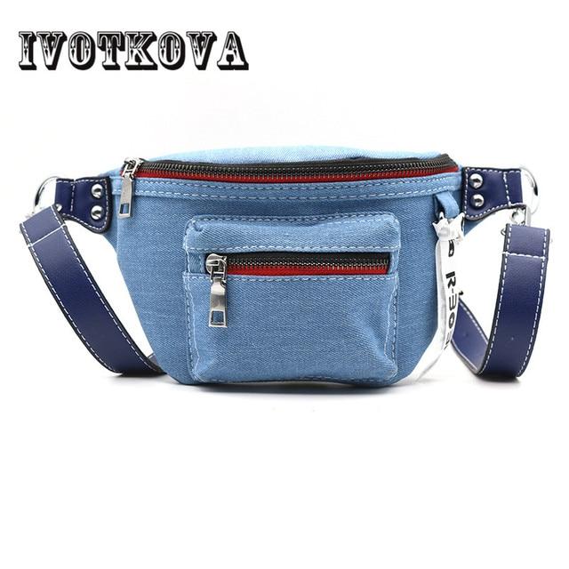 IVOTKOVA Fashion Denim Zipper Women's Waist Bag Belt Bag Men Travel Money Belt Fanny Packs Bag Waist Pack Women Bag