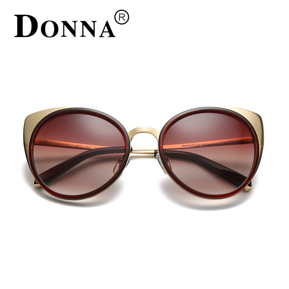d309f10d5ca DONNA Ladies Sunglasses 2017 Women Cat Eye Oversized Plastic Black Rose  Gold Brown Round Lenses Vintage Sunglass D75-in Sunglasses from Apparel  Accessories ...