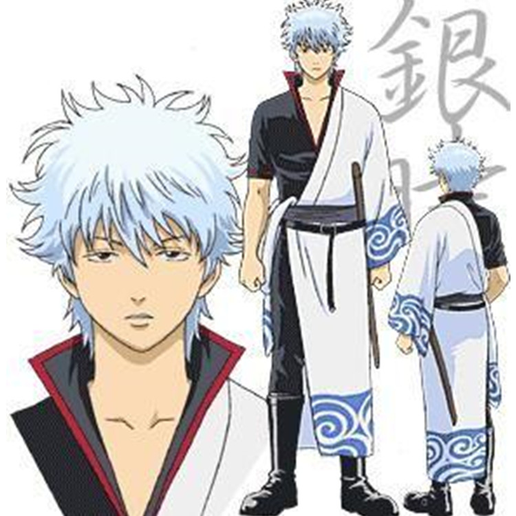 Anime GINTAMA Costumes GINTAMA Sakata Gintoki kimono Cosplay Halloween anime kimono headdress wig shoes Cosplay