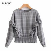 BLSQR Fashion Women Sweet Ruffles Plaid Shirts 2018 New Houndstooth Long Sleeve O Neck Blouse Vintage