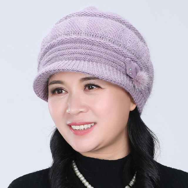Mother Winter Rabbit Fur Baseball Cap Millinery Elderly Knitting Warm Hat Women Knitted Fashion Cap New Year Gift B-4591
