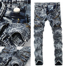 Men's Slim Skinny Straight Snow Denim Pants Destroyed Ripped Jeans Fashion Men's Pencil Jeans