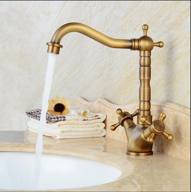 Basin Faucet Chrome Chrome and black Brass Crane Bathroom Sink Faucet 360 Degree Swivel Dual Handle